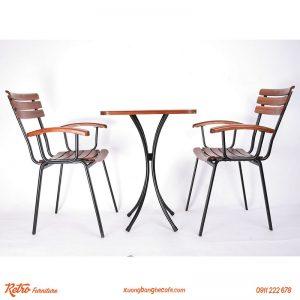 Bộ bàn ghế xếp quán cafe sân vườn R07 bao gồm 1 bàn 2 ghế