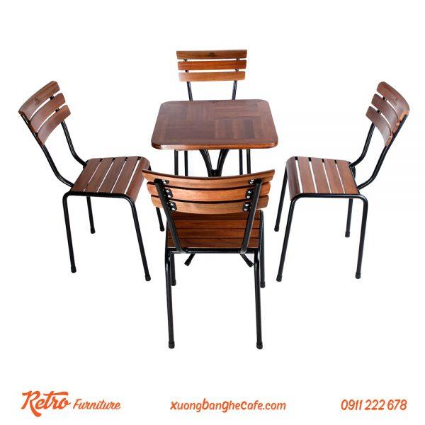 Bàn ghế quán cafe sân vườn R03 - 1 bàn 4 ghế
