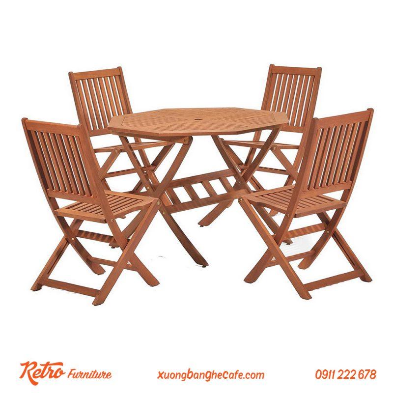 Bàn ghế xếp cafe sân vườn ngoài trời cao cấp R05
