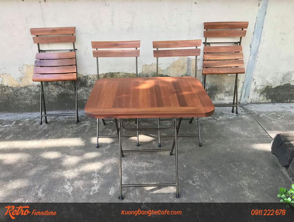 Bộ bàn ghế xếp quán cafe sân vườn R06